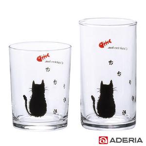 ADERIA 日本進口貓咪足跡玻璃杯2入組