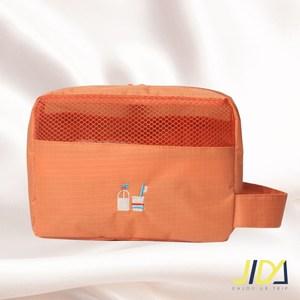 【韓版】時尚輕旅行純色系可吊掛漱洗收納包(柑橘橙)