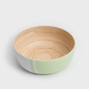 WAGA 清新南洋 20cm手工竹沙拉碗-粉豆綠