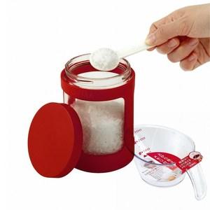 【特惠組】日本ASVEL新色彩470ml玻璃調味罐+300ml耐熱量杯白色
