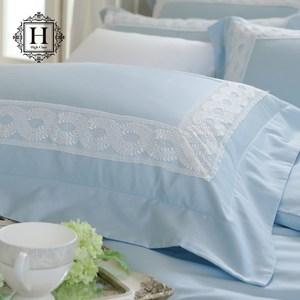 【HOYACASA】維多利亞雙人300織長纖細棉被套床包組(輕柔藍)