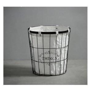 歐式簡約金屬布藝收納籃-圓形
