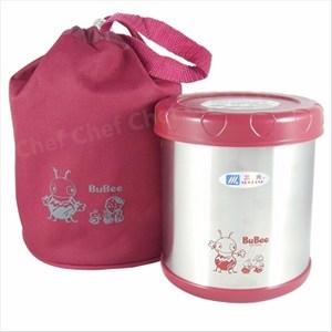 三光牌蘇香不鏽鋼保溫提鍋0.85L附隔層專用提袋保溫便當盒 紅色