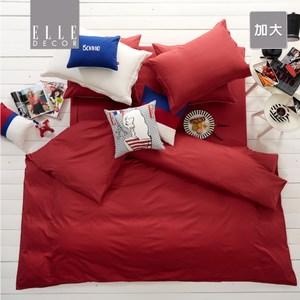 ELLE DECOR簡約素色純棉床包加大紅