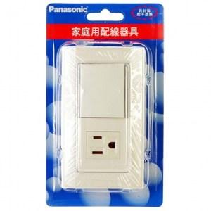 國際螢光單開關+接地單插座蓋板組 WTDFP8-4308P