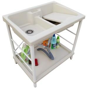 新式特大雙槽塑鋼水槽 洗衣槽 洗手台(白烤漆腳架)-1入