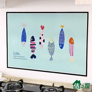【佶之屋】卡通塗鴉風  廚房DIY自黏防油壁貼60x90cm六條魚