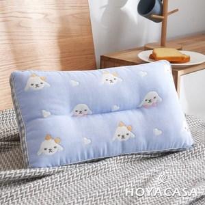 【HOYACASA】萌萌狗超柔紗布純棉可水洗兒童Q棉枕