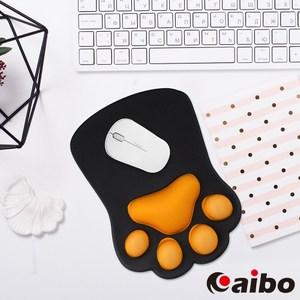 【aibo】Q彈3D立體貓掌 護腕滑鼠墊經典黑