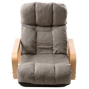 [特價]多段調節扶手旋轉和室椅 淺灰色