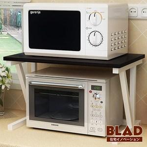 【BLAD】雙倍收納-高質感高耐重木紋雙層廚房微波爐架(黑)黑