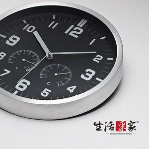 【生活采家】溫濕度計超靜音時尚掛鐘(尊爵黑)#01002