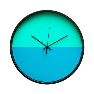 Lovel 30cm 美式極簡金屬框靜音時鐘-綠藍(T721POK-BL)