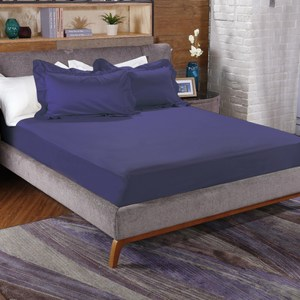 HOLA 托斯卡素色純棉床包特大深海藍
