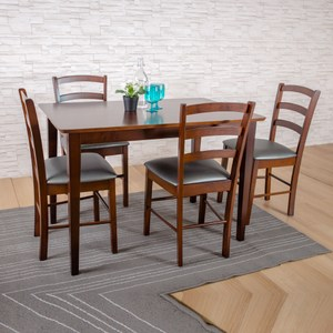【YFS】伊妮德與羅蘭德一桌四椅胡桃灰皮