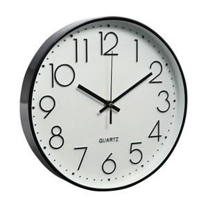 北歐靜音時鐘掛鐘-黑框白底