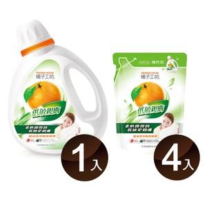 橘子工坊天然濃縮洗衣精-低敏親膚1800m*1瓶+1500ml*4包/組