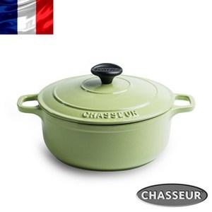 法國【CHASSEUR】獵人琺瑯鑄鐵圓彩鍋22cm(開心果綠)