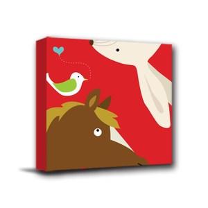24mama掛畫-單聯式 北歐風無框畫 馬與兔子 30x30cm