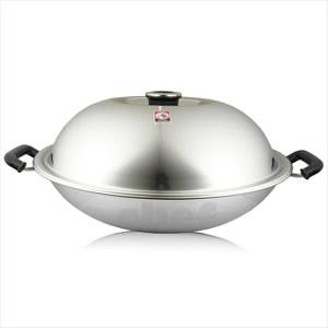 斑馬牌不銹鋼炒鍋雙耳42cm附蒸盤上蓋節氣頭設計