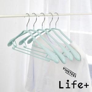 【Life+】北歐ins乾濕兩用多功能不鏽鋼寬肩衣架 5入-藍綠藍綠