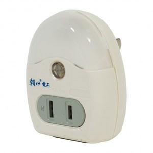 2LED夜燈加2插分接器15A