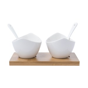 HOLA 舟型2入小碗匙組附竹盤