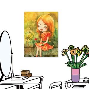 24mama掛畫-單聯式 餐廳裝飾 女孩 插畫風無框畫-40x60cm