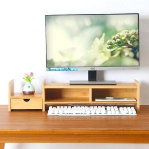 竹藝竹製螢幕增高抽屜收納架