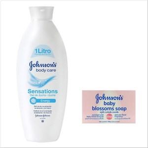 【義大利 Johnson's 嬌生】活力沐浴乳-敏感*3+香皂*12