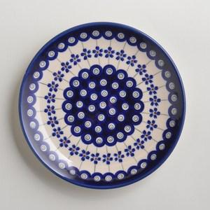 波蘭陶 藏青小卉系列 淺底圓形餐盤 19cm 波蘭手工製