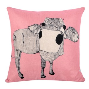 動物家族 棉麻舒適方型抱枕.靠枕_粉紅水牛