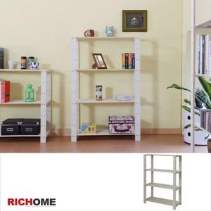 【RICHOME】可調式木質四層架原木色