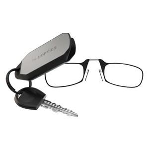 THINOPTICS 隨身輕薄老花眼鏡+攜帶鑰匙圈 (黑色200度)
