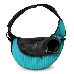 【Feel U硬底部系列 】運動風寵物側背包 / 尺寸:S湖水藍