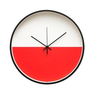 Lovel 30cm 美式極簡金屬框靜音時鐘-紅白(T721POK-RE)