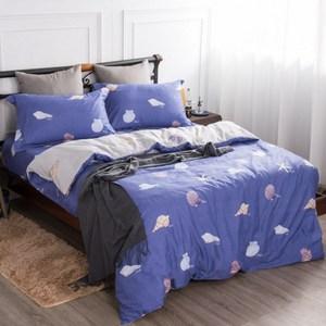 【夢工場】海音輕送精梳棉薄被套床包組-加大