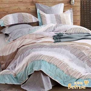 【Betrise城市心跳】雙人防蹣抗菌100%精梳棉四件式兩用被床包組