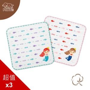 貝寶純棉抗菌紗布小方巾(3入)_美人魚湖綠x3