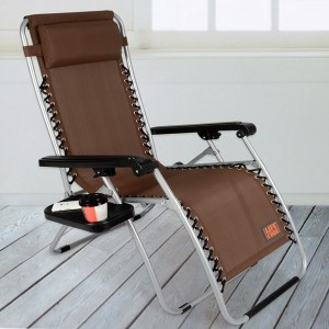 【LIFECODE】特斯林透氣無限段折疊躺椅-附置物杯架-咖啡色