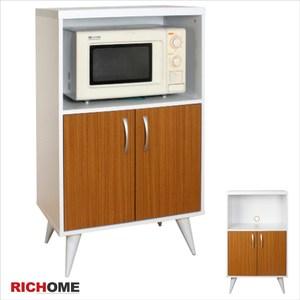 【RICHOME】凱絲多功能二門櫥櫃白色+木紋色