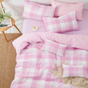 TRONlife好床生活 水洗純棉四件式兩用被床包組 柔粉雙人