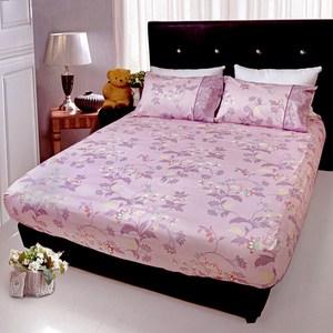 【FITNESS】精梳純棉雙人床包+枕套三件組- 帕帝娜(紫色)