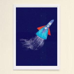 【摩達客】西班牙知名插畫家Judy Kaufmann藝術創作海報版畫掛畫裝飾畫-火箭