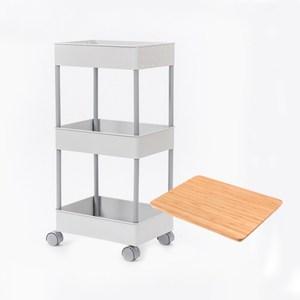 (組)鐵製烤漆三層推車-灰+桌板