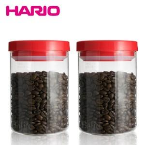 【日本 HARIO】聰明開關 玻璃密封罐 800ml*2入(紅)