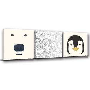 24mama掛畫-三聯式 北歐風無框畫北極熊企鵝 40x40cm