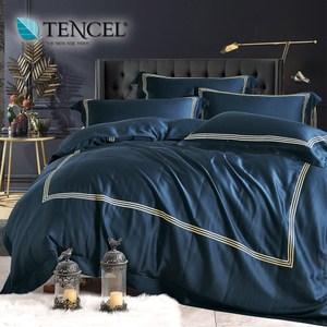 60支刺繡素色萊賽爾天絲兩用被床包組 時尚款星粹藍(雙人)