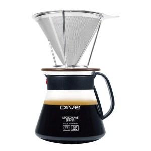 Driver不鏽鋼濾杯禮盒組咖啡濾網+專用承架+微波玻璃壺免用咖啡濾紙