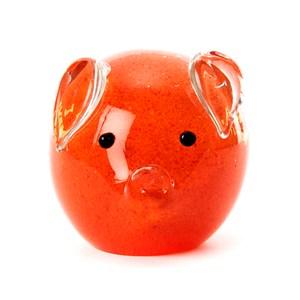 圓滿福氣豬金箔琉璃藝品8cm 橘